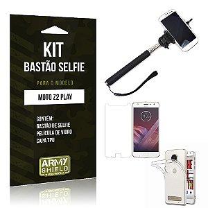 Kit Bastão Selfie  Motorola Moto Z2 Play Película de Vidro + Tpu + Bastão Selfie  - Armyshield