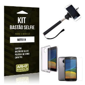 Kit Bastão Selfie  Motorola Moto E4 Película de Vidro + Tpu + Bastão Selfie  - Armyshield