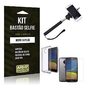 Kit Bastão Selfie  Motorola Moto E4 Plus Película de Vidro + Tpu + Bastão Selfie   - Armyshield
