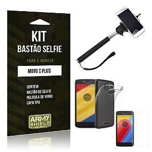 Kit Bastão Selfie  Motorola Moto C Plus Película de Vidro + Tpu + Bastão Selfie  - Armyshield
