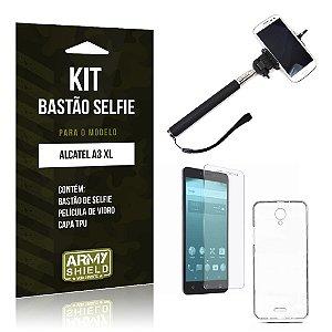 Kit Bastão Selfie  Alcatel A3 XL Película de Vidro + Tpu + Bastão Selfie   - Armyshield