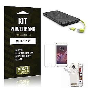 Kit Powerbank  Motorola Moto Z2 Play Película de Vidro + Tpu + Powerbank 10000mah - Armyshield