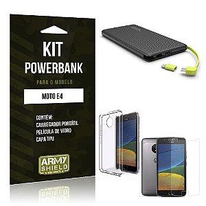 Kit Powerbank  Motorola Moto E4 Película de Vidro + Tpu + Powerbank 10000mah - Armyshield