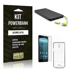Kit Powerbank  Alcatel A3 XL Película de Vidro + Tpu + Powerbank  10000mah - Armyshield