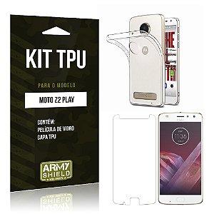 Kit TPU  Motorola Moto Z2 Play Película de Vidro + TPU Transparente  - Armyshield