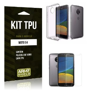 Kit TPU  Motorola Moto E4 Película de Vidro + TPU Transparente  - Armyshield