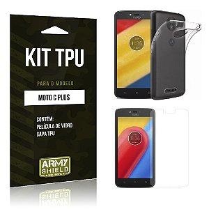 Kit TPU  Motorola Moto C Plus Película de Vidro + TPU Transparente  - Armyshield
