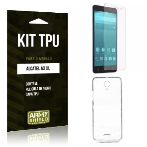 Kit TPU  Alcatel A3 XL Película de Vidro + TPU Transparente   - Armyshield