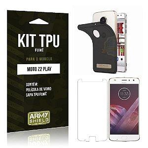 Kit TPU Fumê  Motorola Moto Z2 Play Película de Vidro + TPU Fumê  - Armyshield
