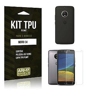 Kit TPU Fumê  Motorola Moto E4 Película de Vidro + TPU Fumê  - Armyshield