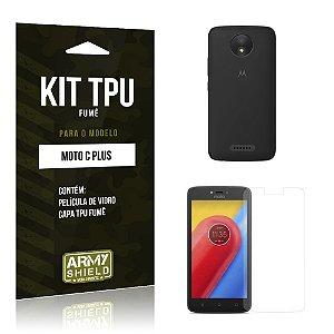 Kit TPU Fumê  Motorola Moto C Plus Película de Vidro + TPU Fumê  - Armyshield