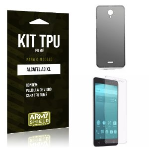 Kit TPU Fumê  Alcatel A3 XL Película de Vidro + TPU Fumê   - Armyshield