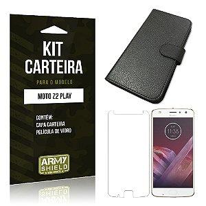 Kit Capa Carteira  Motorola Moto Z2 Play Película de Vidro + Capa Carteira  - Armyshield