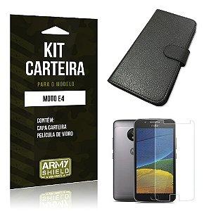 Kit Capa Carteira  Motorola Moto E4 Película de Vidro + Capa Carteira  - Armyshield