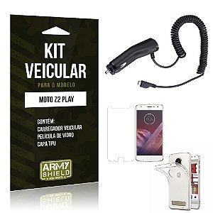 Kit Veicular  Motorola Moto Z2 Play Película de Vidro + Carregador Veicular  - Armyshield