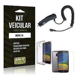 Kit Veicular  Motorola Moto E4 Película de Vidro + Carregador Veicular  - Armyshield