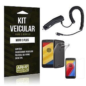 Kit Veicular  Motorola Moto C Plus Película de Vidro + Carregador Veicular  - Armyshield