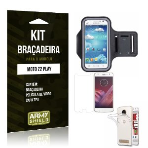 Kit Braçadeira  Motorola Moto Z2 Play Película de Vidro +  Braçadeira + TPU  - Armyshield