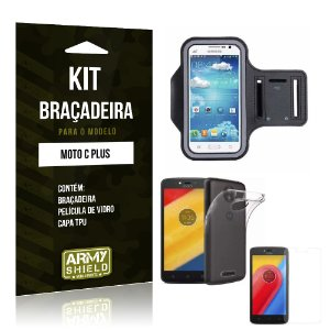 Kit Braçadeira  Motorola Moto C Plus Película de Vidro +  Braçadeira + TPU  - Armyshield