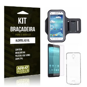 Kit Braçadeira  Alcatel A3 XL Película de Vidro +  Braçadeira + TPU   - Armyshield