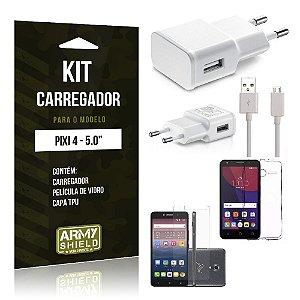 Kit Carregador Alcatel pixi 4/5.0 Película de Vidro + Capa Tpu + Carregador  -ArmyShield
