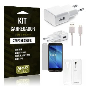 Kit Carregador Asus Zenfone selfie Película de Vidro + Capa Tpu + Carregador  -ArmyShield