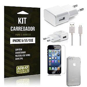 Kit Carregador Iphone 5g/5 se Película de Vidro + Capa Tpu + Carregador  -ArmyShield