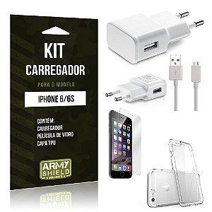 Kit Carregador Iphone 6/ 6S Película de Vidro + Capa Tpu + Carregador  -ArmyShield