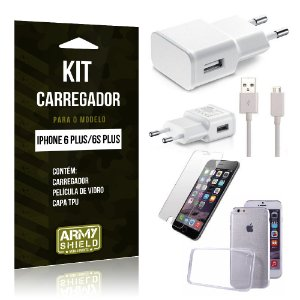 Kit Carregador Iphone 6 plus / 6S Plus Película de Vidro + Capa Tpu + Carregador  -ArmyShield