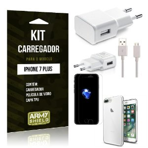 Kit Carregador Iphone 7 plus Película de Vidro + Capa Tpu + Carregador  -ArmyShield