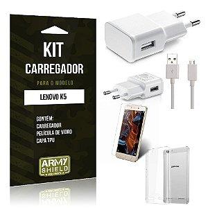 Kit Carregador Lenovo k5 Película de Vidro + Capa Tpu + Carregador  -ArmyShield