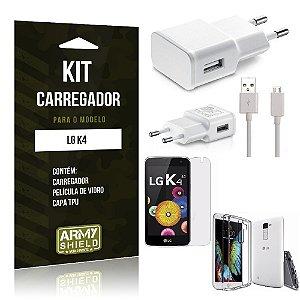 Kit Carregador Lg k4 Película de Vidro + Capa Tpu + Carregador  -ArmyShield