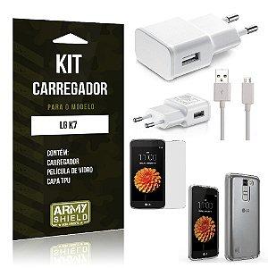 Kit Carregador Lg k7 Película de Vidro + Capa Tpu + Carregador  -ArmyShield