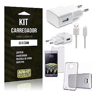 Kit Carregador Lg x cam Película de Vidro + Capa Tpu + Carregador  -ArmyShield