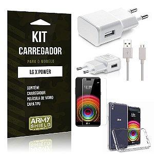 Kit Carregador Lg x power Película de Vidro + Capa Tpu + Carregador  -ArmyShield