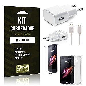 Kit Carregador Lg x screen Película de Vidro + Capa Tpu + Carregador  -ArmyShield