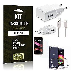 Kit Carregador Lg x style Película de Vidro + Capa Tpu + Carregador  -ArmyShield