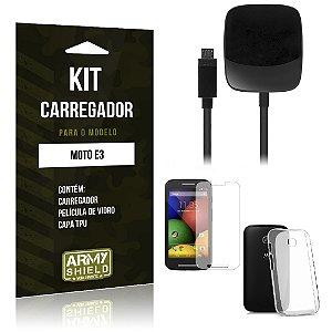 Kit Carregador Motorola moto e3 Película de Vidro + Capa Tpu + Carregador  -ArmyShield
