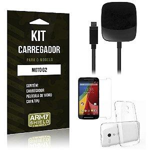 Kit Carregador Motorola moto g2 Película de Vidro + Capa Tpu + Carregador  -ArmyShield