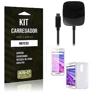 Kit Carregador Motorola moto g3 Película de Vidro + Capa Tpu + Carregador  -ArmyShield