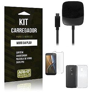 Kit Carregador Motorola moto g4 play Película de Vidro + Capa Tpu + Carregador  -ArmyShield