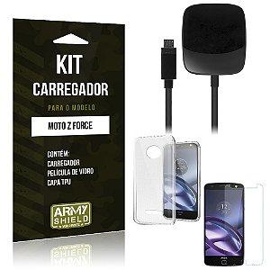Kit Carregador Motorola moto z force Película de Vidro + Capa Tpu + Carregador  -ArmyShield