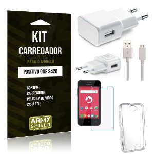 Kit Carregador Positivo One s420 Película de Vidro + Capa Tpu + Carregador  -ArmyShield