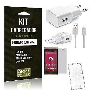 Kit Carregador Positivo Selfie s455 Película de Vidro + Capa Tpu + Carregador  -ArmyShield