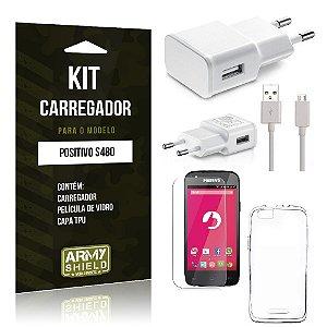 Kit Carregador Positivo s480 Película de Vidro + Capa Tpu + Carregador  -ArmyShield