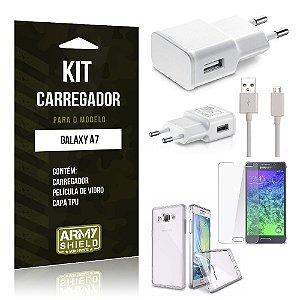Kit Carregador Samsung a7 Película de Vidro + Capa Tpu + Carregador  -ArmyShield