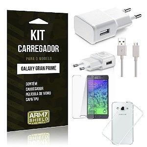 Kit Carregador Samsung g530 tv Película de Vidro + Capa Tpu + Carregador  -ArmyShield