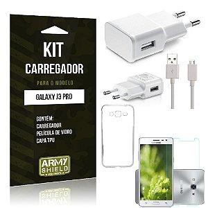 Kit Carregador Samsung galaxy j3 pro Película de Vidro + Capa Tpu + Carregador  -ArmyShield