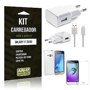 Kit Carregador Samsung j1 2016 Película de Vidro + Capa Tpu + Carregador  -ArmyShield