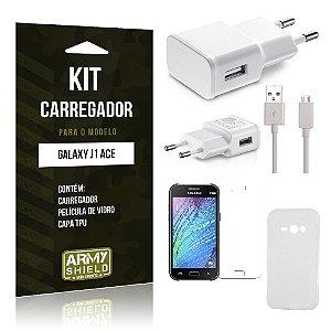 Kit Carregador Samsung j1 ace Película de Vidro + Capa Tpu + Carregador  -ArmyShield